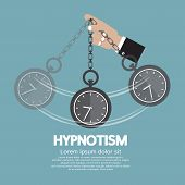 foto of hypnotizing  - Hypnotism By Using A Clock Vector Illustration - JPG