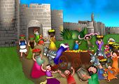 pic of israel people  - A cartoon illustration depicting the Jewish celebration of Shavuot with the people bringing the first fruits of the land to Jerusalem to lay on the steps of the temple - JPG