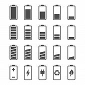 pic of indications  - Battery vector icon set with charge level indicators - JPG