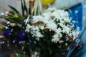 pic of wedding table decor  - Beautiful flowers on table in wedding day. wedding table flower decoration ** Note: Shallow depth of field - JPG