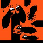 foto of termite  - Silhouettes of cartoon termites which eats wood things - JPG