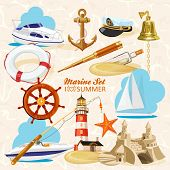 picture of lifeline  - Set of nautical or naval elements with anchor - JPG