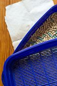 image of feces  - Toilet container for the cat out of the blue plastic - JPG
