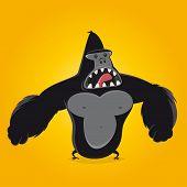 picture of gorilla  - funny cartoon gorilla - JPG