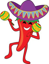 picture of mexican food  - mexican chili dancing with a big sombrero and maracas - JPG