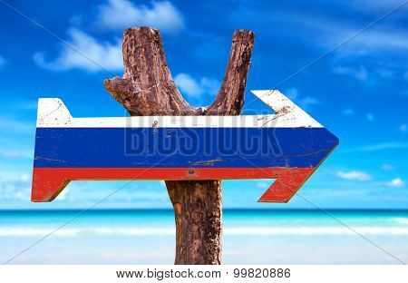 Russia Flag wooden sign with