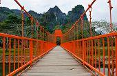 Red Bridge Over Song River, Vang Vieng, Laos