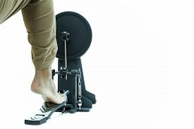 picture of pedal  - Man playing a base drum pedal isolated in white background - JPG