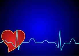 stock photo of ekg  - EKG waveform on a blue background with hearts suitably as a business card - JPG