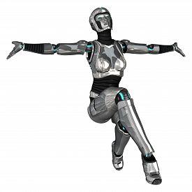 image of cyborg  - 3D digital render of a female cyborg isolated on white background - JPG