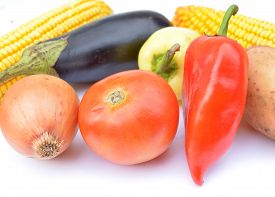 stock photo of decomposition  - Different vegetables on a white background decomposition - JPG