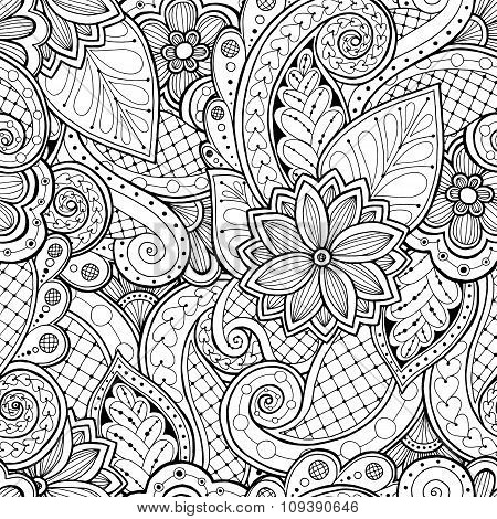 Vector Ethnic Pattern Can Be Used For Wallpaper Fills Coloring Books And Pages Kids Adults Black White Poster
