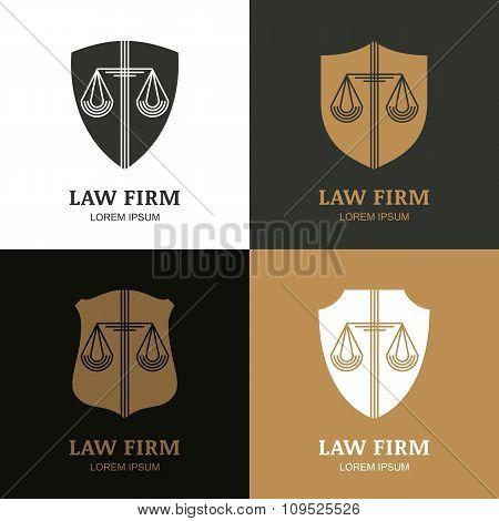 Set Of Vector Line Art Vintage Law Firm Logo Template  poster
