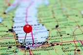Chicago pinned on a map of USA poster