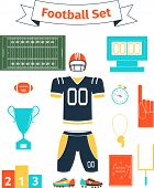 American football icons set poster