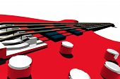 picture of stratocaster  - 3d render illustration of isolated bass detail - JPG