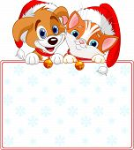 Christmas Cat And Dog Sign