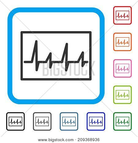 poster of Cardiogram icon. Flat grey pictogram symbol inside a light blue rounded rectangle. Black, gray, green, blue, red, orange color additional versions of Cardiogram vector.