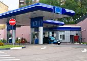 stock photo of high-octane  - photo of gas refuel station with small shop office