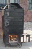 Old Black Metal Oven