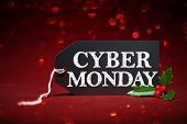 Cyber Monday sale tag on red glitter background poster