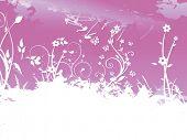 banner grunge floral background, purple
