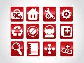 abstrakt schöne Web glasig-Logo-Set, rot