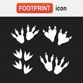 Dinosaur Footprint Tracks Vector Set Illustration. Dinosaur Footprint Vector poster