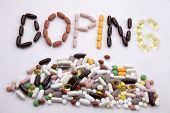 Conceptual Hand Writing Text Caption Inspiration Medical Care Health Concept Written With Pills Drug poster