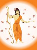 vector ram navami illustration with om and god