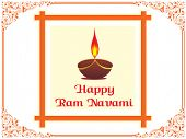 swirl pattern border with ram navami card