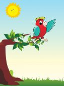 natural background with cute parrot sitting on branch, vector wallpaper