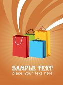 colorful vector of shopping bags with sample text