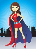abstract retro background with superwoman