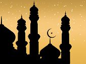 background with shiny star, mosque silhouette