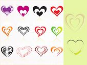 abstract background with set of heart