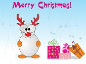 abstract skyblue background with cute cartton and many gifts