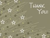 image of thank you card  - olive green artistic lines background with many star - JPG