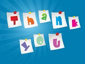 blue rays background with thank you word notes attach with paper pin