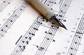 Fountain Writing Pen On Music Sheet