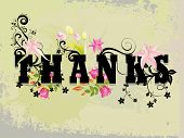 stock photo of thank you note  - grungy background with decorated thanks - JPG