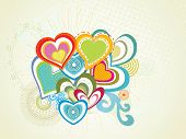 seamless pattern background with collection of colorful heart