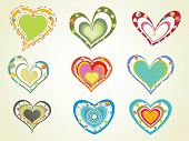 background with set of decorated colorful hearts