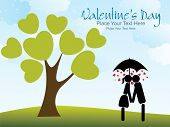 abstract garden background with kissing couple silhouette