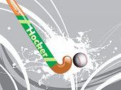 white grunge with hockey stick, ball