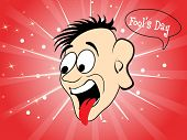 red rays, star, dots background with funny cartoon face