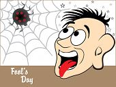 abstract fools day background with funny face, spider and star