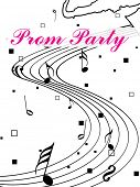 beautiful prom party background with musical notes