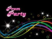 black background with colorful stripes, illustration for prom party