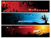 background with set of three halloween header